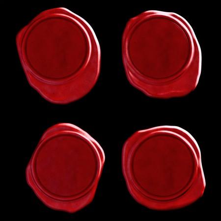검정 바탕에 4 개의 빨간색 왁스 물개
