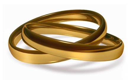 linked gold wedding rings on white background Stock Photo