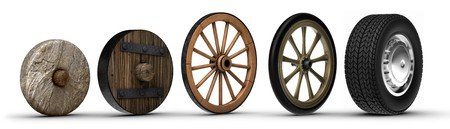 history: Illustration showing the evolution of the wheel starting from a stone wheel and ending with a steel belted radial tire. Shot on a white background. Stock Photo