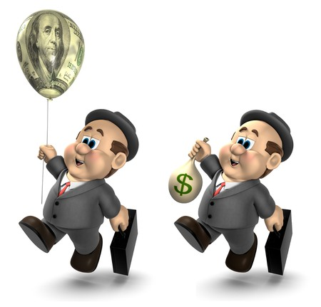 Two versions of the 3D cartoon character Wilfred one holding a bag of money and the other holding a helium balloon decorated with a $100 bill photo