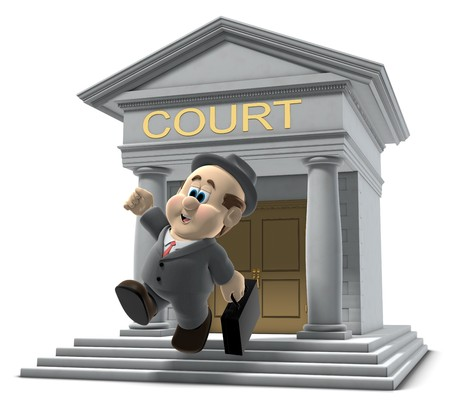 verdict: 3D illustration of Wilfred emerging from a court house jumping in the air on white background