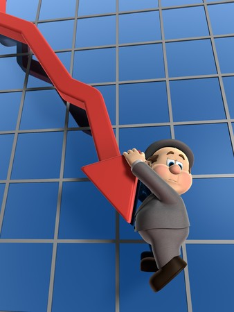 salary man: 3D illustration of Wilfred Hanging on for life off of a declining chart arrow. Stock Photo