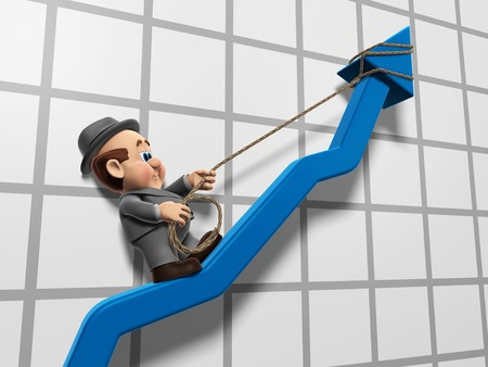 businesses: 3D illustration of Wilfred Climbing up a chart graph arrow with a rope.