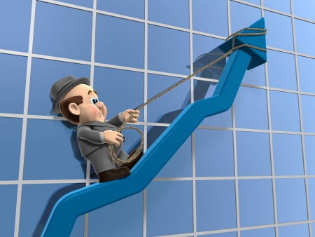 net income: 3D illustration of Wilfred Hanging on for life off of a declining chart arrow. Stock Photo