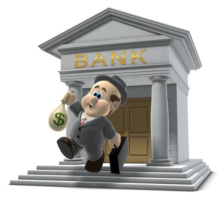 cartoon bank: 3D illustration of Wilfred emerging from a bank with a sack of money isolated on a white background Stock Photo