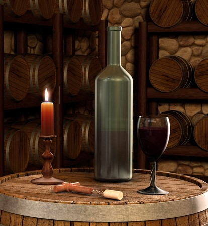 A candle lit shot of a wine bottle and glass of wine inside of a wine cellar photo