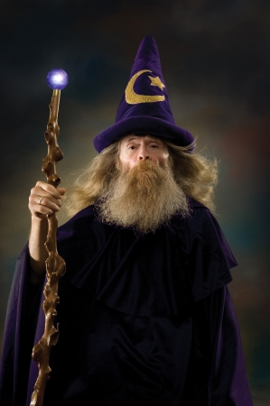 merlin: Wizard with posing for a portrait Stock Photo