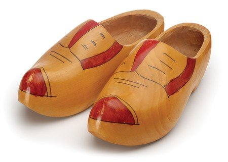 dutch: Wooden shoes shot on white