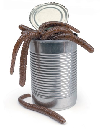 entanglement: can of worms on white Stock Photo