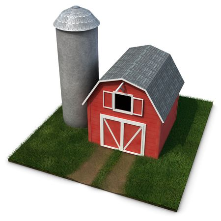 silo: Barn and Silo on a square patch of grass isolated on a white background