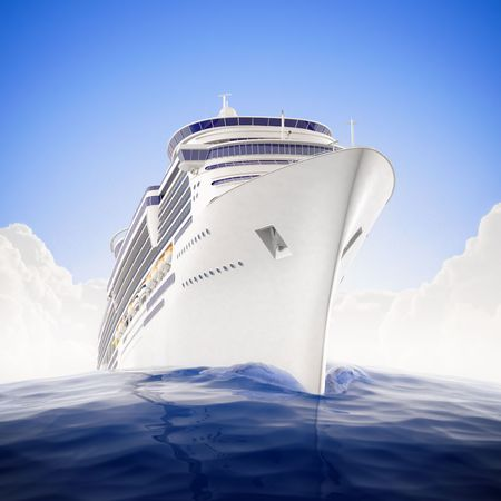 a big ship: a luxury cruiseship sailing the waters with dramatic fisheye lens effect Stock Photo