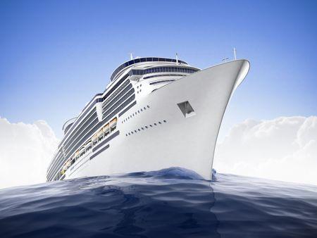 cruiseship: Cruiseship de lujo navegar las aguas con un efecto de lente ojo de pez de dramadic