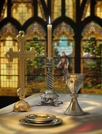Elements of the Eucharist on an altar against a stained glass window in the background: host, chalice, candle, cross and altar Foto de archivo