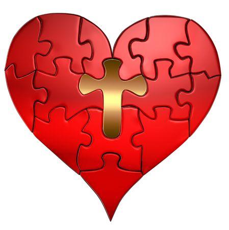 センターのパズルのピースとして金の十字架とバレンタインの心のパズル