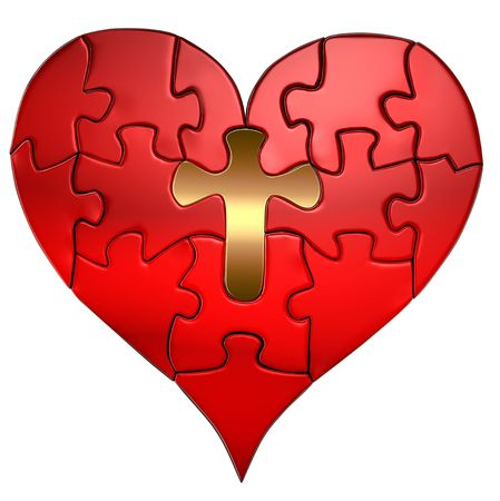 Puzzle of a Valentine heart with a gold cross as the center puzzle piece Imagens