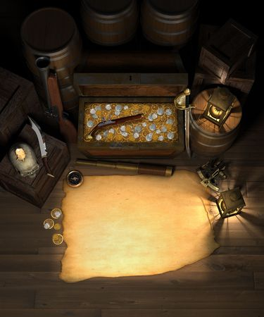 flintlock: Pirate treasure in the hold of a pirate ship showing a treasure chest filled with gold and silver coins, amidst a treasure map with are for copy, a spy glass, compass, sextant, brass lanterns, blunderbuss, flintlock pistol, barrels and crate