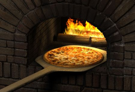 pizza oven: Pizza  resting on a wooden spatula inside a sood fired brick pizza oven