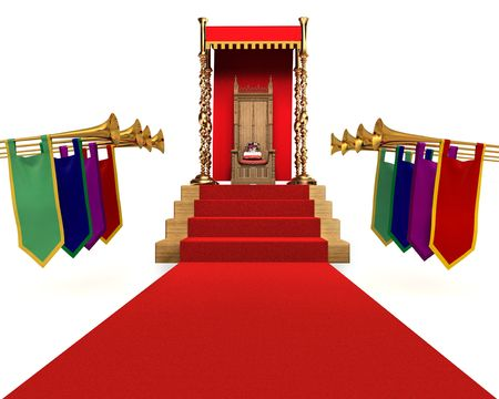 Red carpet flanked by trumpets leading to a throne with a crown resting on a pillow Stock Photo