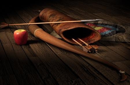 arc fleche: Vintage attirail tir � l'arc symbolisant targetging. Arc, des fl�ches, quiverbag et une cible de papier sur un plancher en bois rustique dans l'�clairage dramatique.