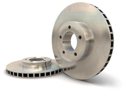 Brake rotors on a white background Stock Photo