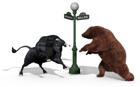 Bear and Bull stock market mascots charging each other on a white background with a New York street light between them Banque d'images