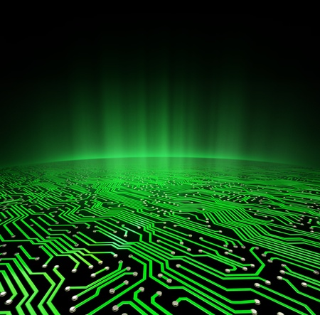 printed circuit board: Landscape made of a printed circuit board with a glowing green horizon