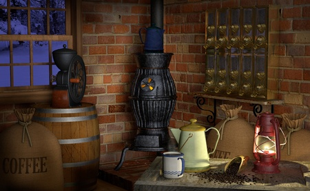 industry: Interior of a coffee shop or factory showing coffee paraphernalia including; a coffee grinder, coffee beans, pot belly stove, coffee scoop, coffee beans, burlap bags, a wooden barrel, coffee pot, coffee silos