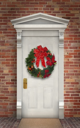 Christmas wreath hanging on a traditional wooden door