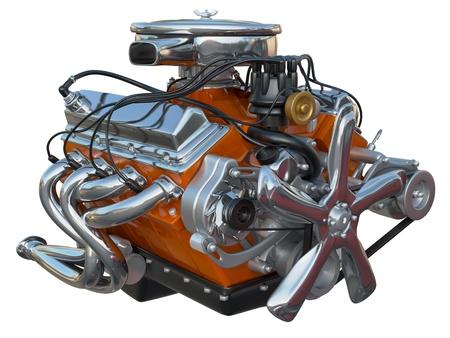 alto rendimiento: Un motor v8 de alto rendimiento en un fondo blanco Foto de archivo