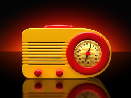 Vintage plastic radio on a dramatic background