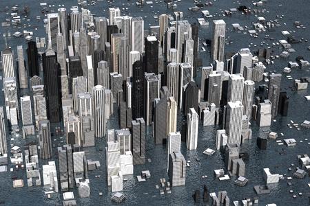海面上昇からの水の下で都市