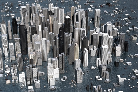 Urban metropolis under water from rising sea levels