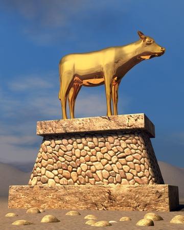 idool: Het gouden kalf, zoals beschreven in het boek Exodus Stockfoto