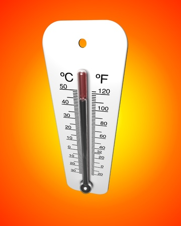 Weather thermometer reading a high temperature against a hot orange gradient