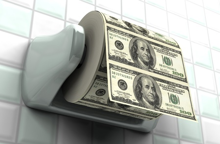monetary devaluation: Roll of $100 bills on a toilet paper spindle