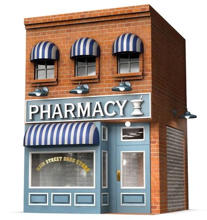 farmacia: Versi�n estilizada de un almac�n de drogas estadounidense ic�nico aislado sobre un fondo blanco