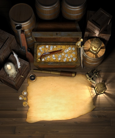 flintlock: Pirate treasure in the cargo hold of a pirate ship showing a treasure chest filled with gold and silver coins, behind a blank treasure map with a spy glass, compass, sextant, brass lanterns, blunderbuss, flintlock pistol, barrels and crates Stock Photo
