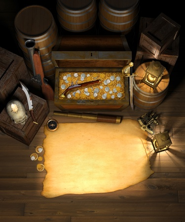 Pirate treasure in the cargo hold of a pirate ship showing a treasure chest filled with gold and silver coins, behind a blank treasure map with a spy glass, compass, sextant, brass lanterns, blunderbuss, flintlock pistol, barrels and crates Stock Photo