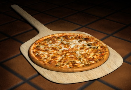 Pizza resting on a wooden pizza peel on a background of rustic terra cota tiles