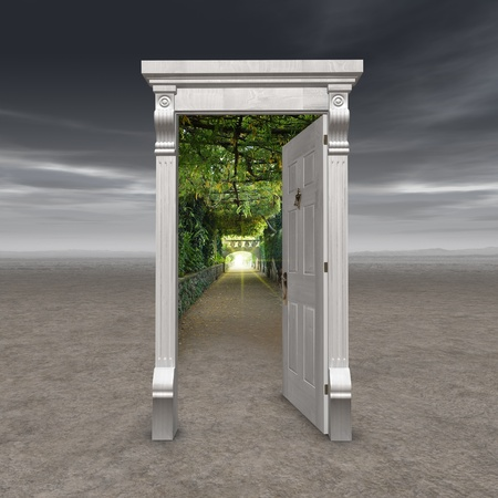 dimension: Portal into another dimension represented by a doorway in the middle of a barren wasteland opening into a garden path with a light at the end
