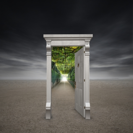 doorway: Portal into another dimension represented by a doorway in the middle of a barren wasteland opening into a garden path with a light at the end