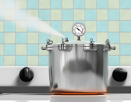 Pressure cooker ready to explode on a red hot burner