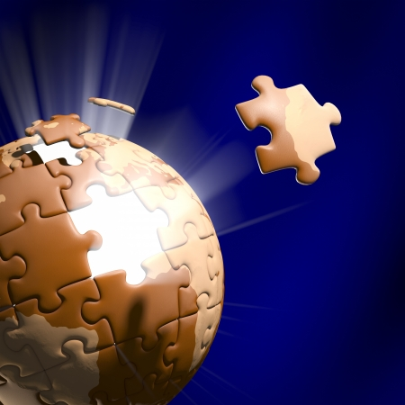 Stock Photo showing the Jigsaw pieces moving to position. photo