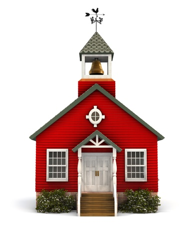 scholastic: Front facade of a little red American schoolhouse on white