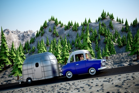 A cartoon Image of a couple driving in the deset towing a camper trailer photo