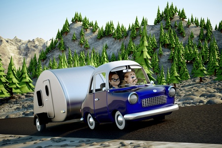 A cartoon Image of a couple driving in the deset towing a camper trailer