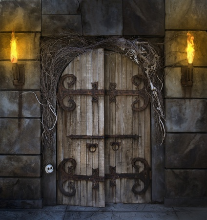Spooky dungeon door flanked with two flaming torches and decorated with twigs and skeleton bones Stock Photo
