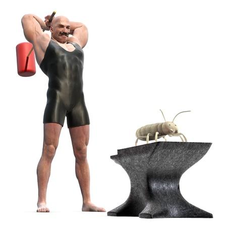 Kraftprotz mit einem Holzhammer hinter seinem Rücken zu ein Termite auf einen Amboß zerschlagen