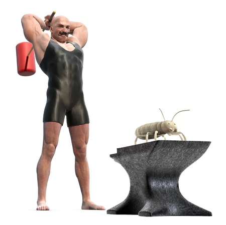 smash: Muscle Man with a mallet behind his back about to smash a termite on an anvil