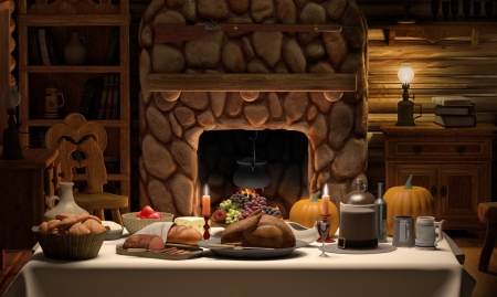A full Thanksgiving dinner on a table set in cozy cabin